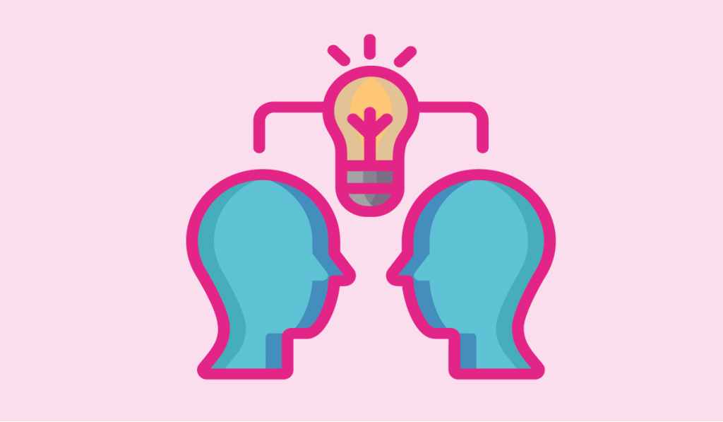 questions to ask a mentor - an illustration of two people thinking together