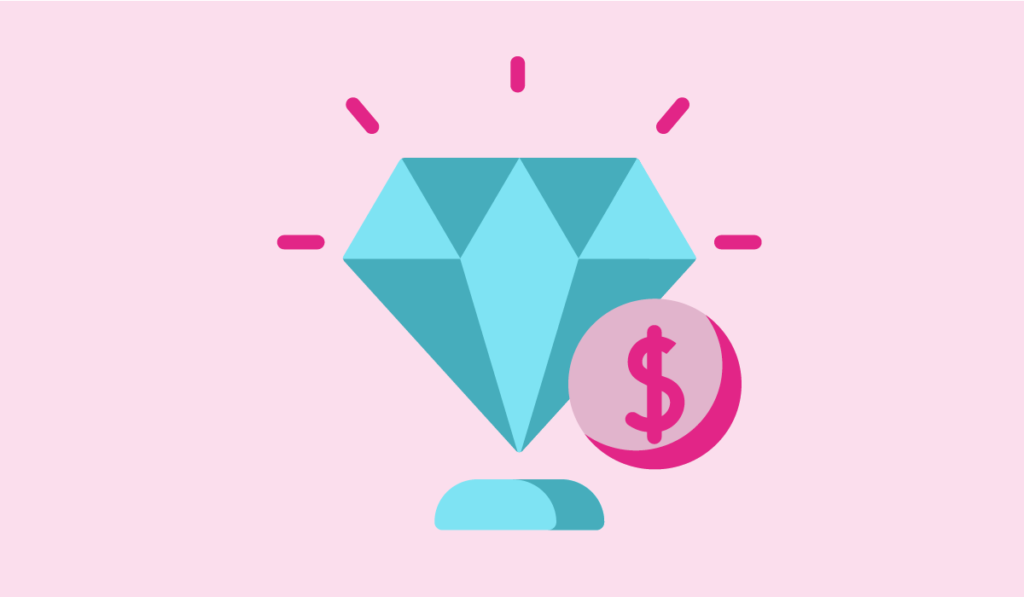 successful women entrepreneur - an illustration of a shiny diamond
