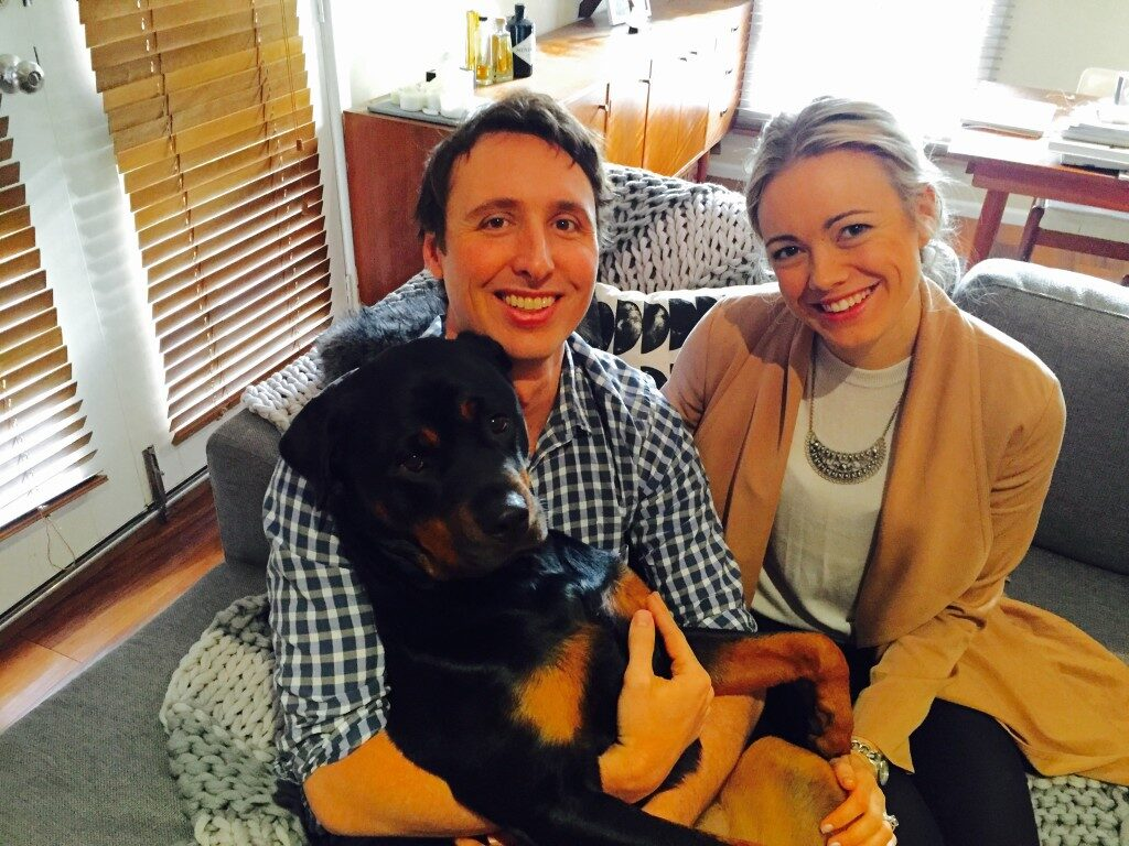 Grace and Adam Lever with their dog